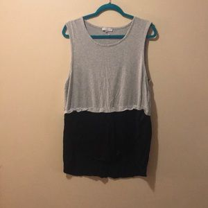 Women's XL sleeveless Tunic half grey & half black